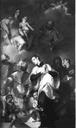 """Giuseppe Bazzani: """"Sacra Famiglia con santi"""", presso la Parrocchia di Borgoforte."""