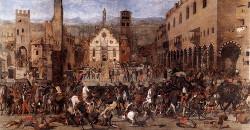 """Domenico Morone: """"La cacciata dei Bonacolsi"""", 1494. Palazzo Ducale di Mantova."""