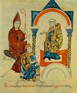 Matilde di Canossa in trono dalla Vita Mathildis di Donizone di Canossa